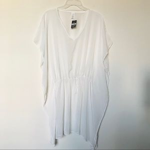 White Sheer Poncho Style Beach /Pool Coverup Dress